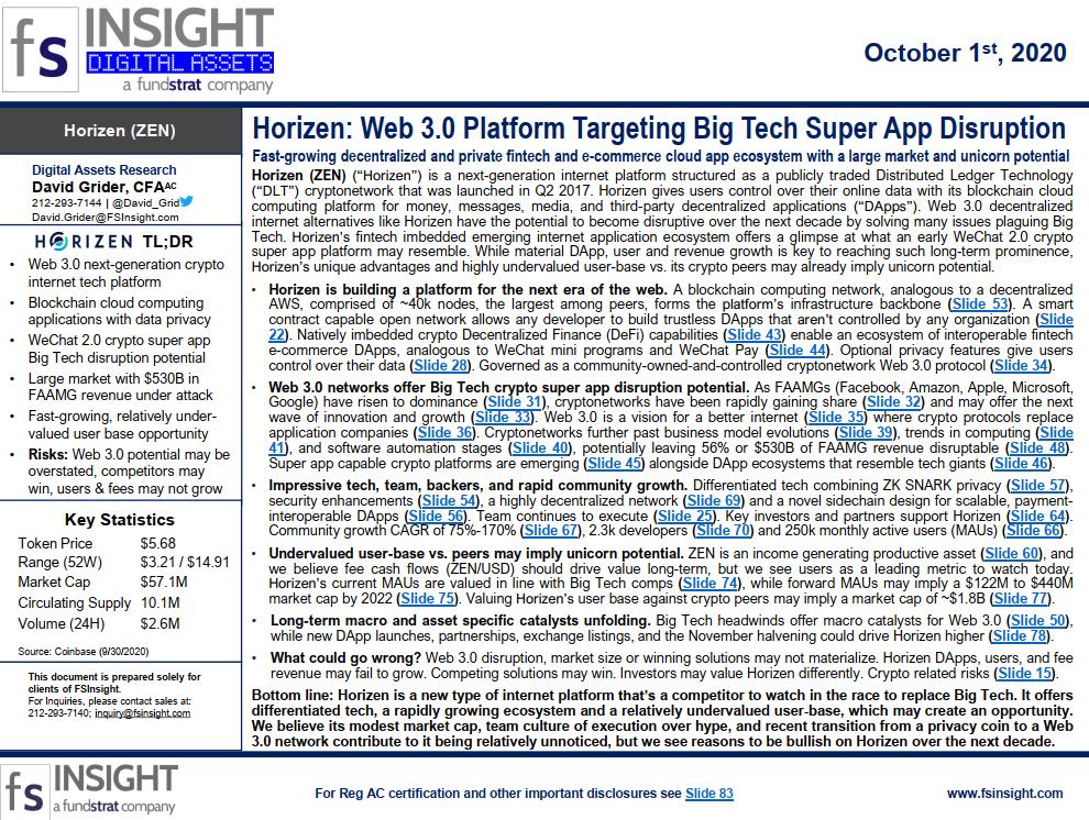 CRYPTO SPECIAL REPORT – Horizen: Web 3.0 Platform Targeting Big Tech Super App Disruption