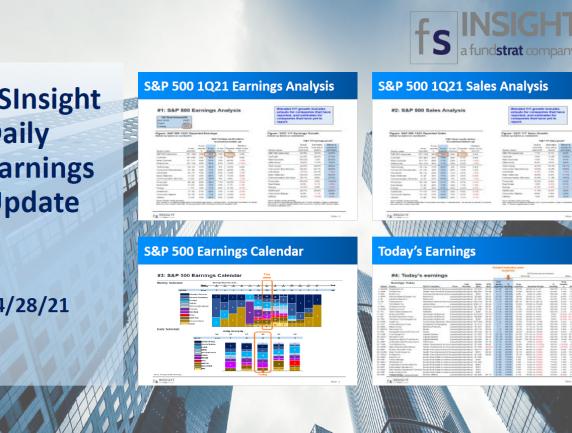 FSInsight 1Q21 Daily Earnings Update – 04/28/2021