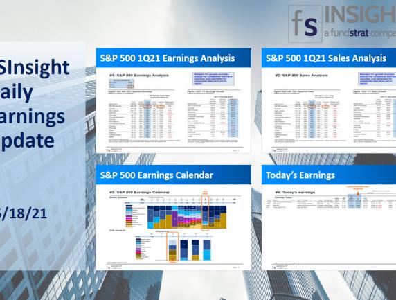 FSInsight 1Q21 Daily Earnings Update – 05/18/2021