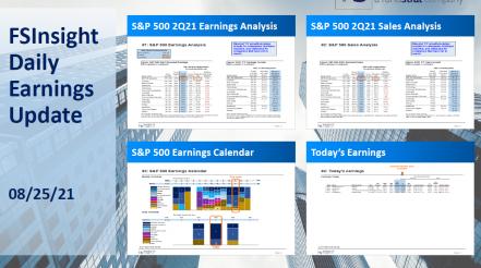 FSInsight 2Q21 Daily Earnings Update – 08/25/2021