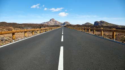 Panoramic View Of A Scenic Road In Teide National Park, Tenerife