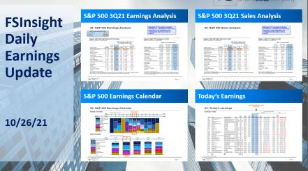 FSInsight 3Q21 Daily Earnings Update – 10/26/2021