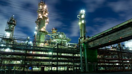 Oil Refinery At Night